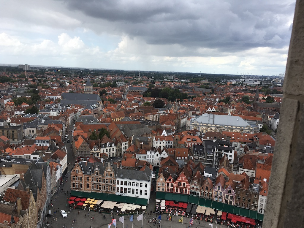 I walked up the Belfry and looked down on the busy marketplace
